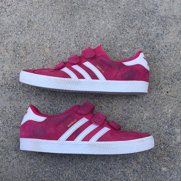 check out 551ff b269b adidas Other - Adorable hot pink velcro Adidas Gazelle sneakers